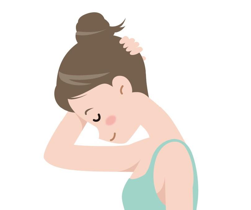 頭を下に下げ首の後ろをストレッチする女性のイラスト
