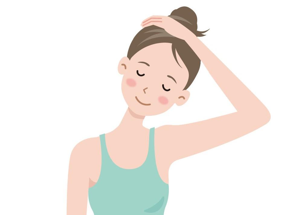 頭を横に倒し首のサイドをストレッチする女性のイラスト