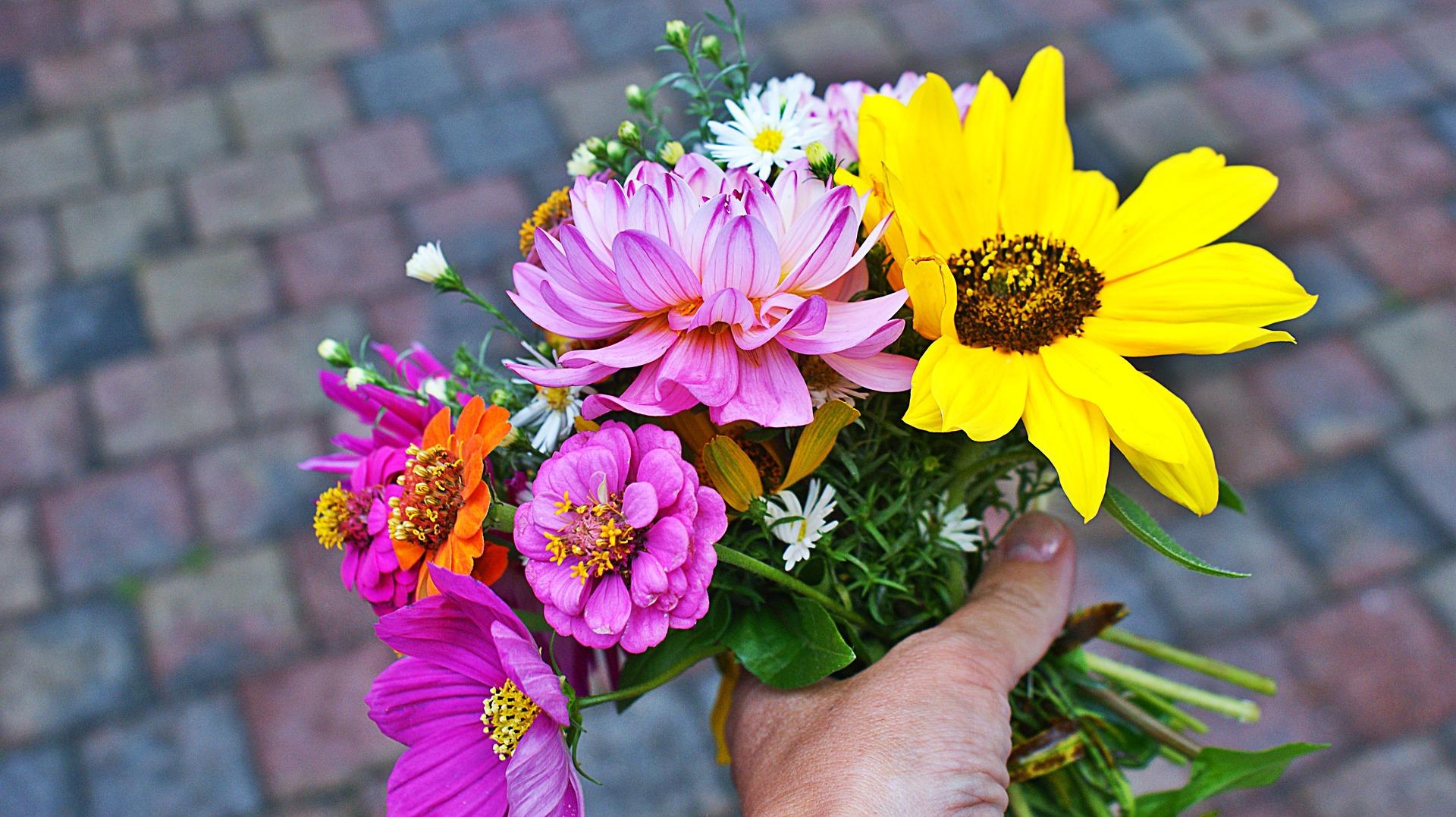 ほぐし処とりっぷ7年目お祝いの花の写真